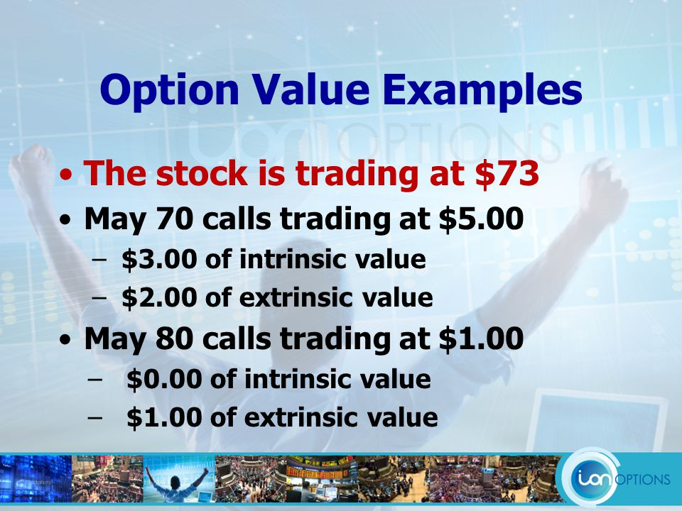 Option Value Examples The stock is trading at $73 May 70 calls trading at $5.00 – $3.00 of intrinsic value – $2.00 of extrinsic value May 80 calls trading at $1.00 –$0.00 of intrinsic value –$1.00 of extrinsic value
