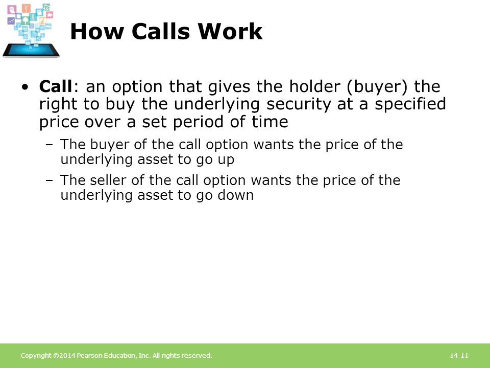 Copyright ©2014 Pearson Education, Inc. All rights reserved.14-11 How Calls Work Call: an option that gives the holder (buyer) the right to buy the un