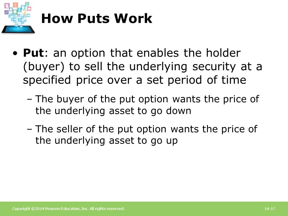 Copyright ©2014 Pearson Education, Inc. All rights reserved.14-17 How Puts Work Put: an option that enables the holder (buyer) to sell the underlying