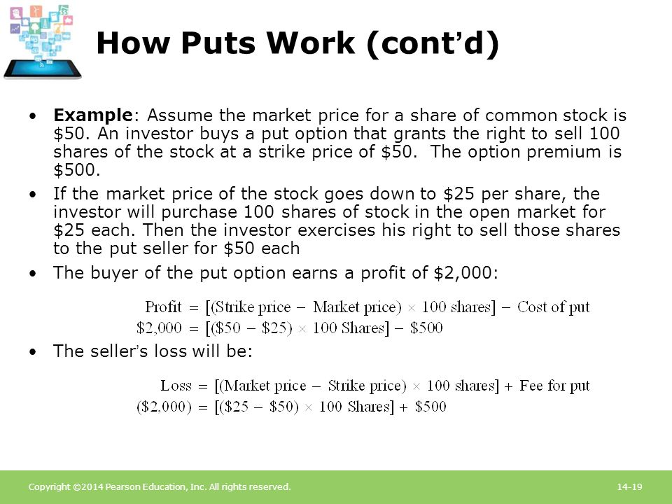 Copyright ©2014 Pearson Education, Inc. All rights reserved.14-19 How Puts Work (cont'd) Example: Assume the market price for a share of common stock