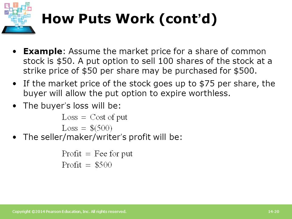 Copyright ©2014 Pearson Education, Inc. All rights reserved.14-20 How Puts Work (cont'd) Example: Assume the market price for a share of common stock