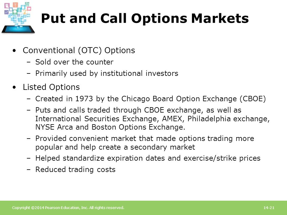 Copyright ©2014 Pearson Education, Inc. All rights reserved.14-21 Put and Call Options Markets Conventional (OTC) Options –Sold over the counter –Prim