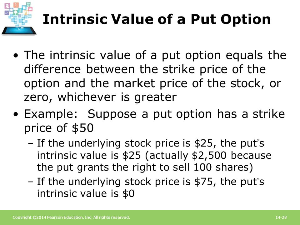 Copyright ©2014 Pearson Education, Inc. All rights reserved.14-28 Intrinsic Value of a Put Option The intrinsic value of a put option equals the diffe