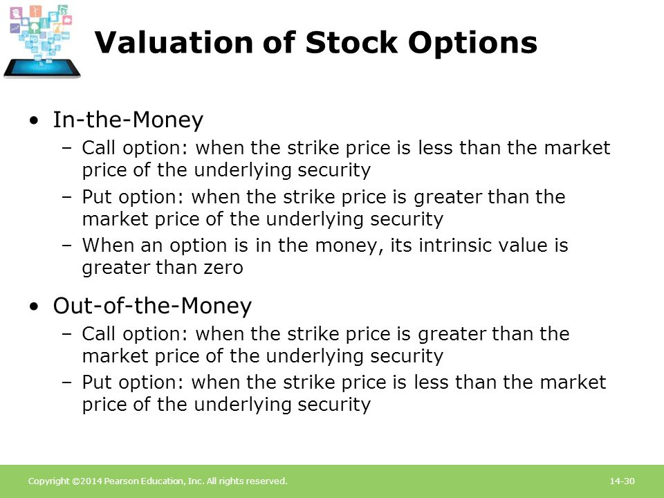 Copyright ©2014 Pearson Education, Inc. All rights reserved.14-30 Valuation of Stock Options In-the-Money –Call option: when the strike price is less