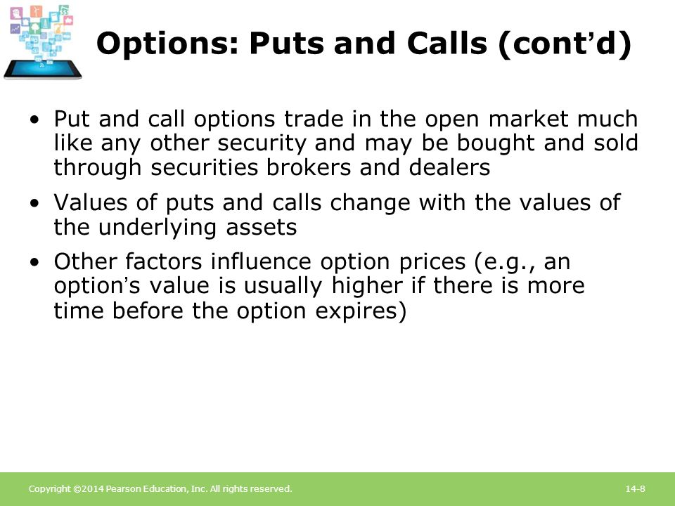 Copyright ©2014 Pearson Education, Inc. All rights reserved.14-8 Options: Puts and Calls (cont'd) Put and call options trade in the open market much l