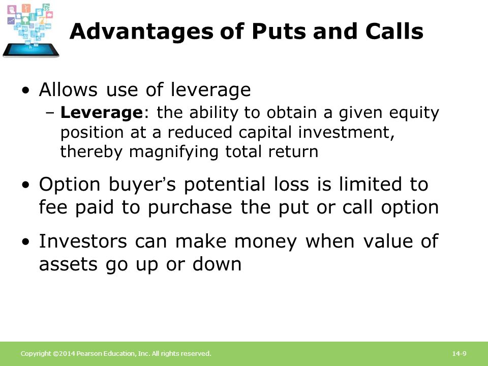 Copyright ©2014 Pearson Education, Inc. All rights reserved.14-9 Advantages of Puts and Calls Allows use of leverage –Leverage: the ability to obtain