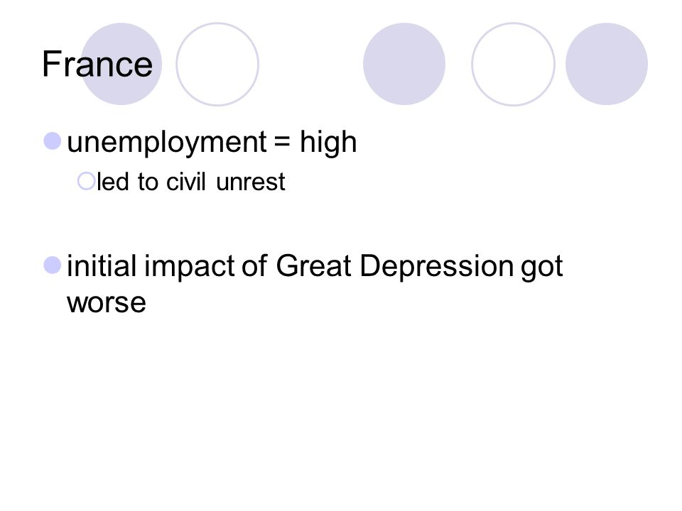 France unemployment = high  led to civil unrest initial impact of Great Depression got worse