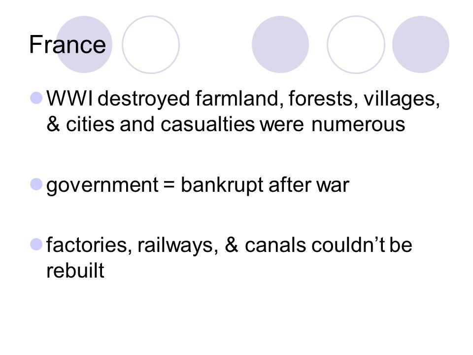 France WWI destroyed farmland, forests, villages, & cities and casualties were numerous government = bankrupt after war factories, railways, & canals couldn't be rebuilt