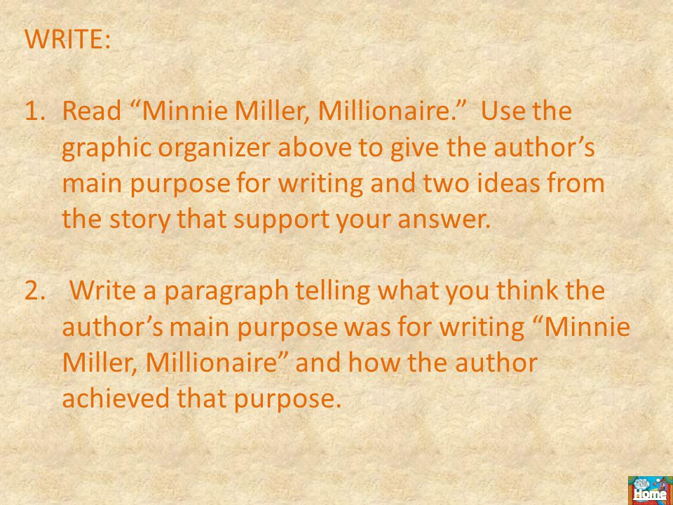 WRITE: 1.Read Minnie Miller, Millionaire. Use the graphic organizer above to give the author's main purpose for writing and two ideas from the story that support your answer.