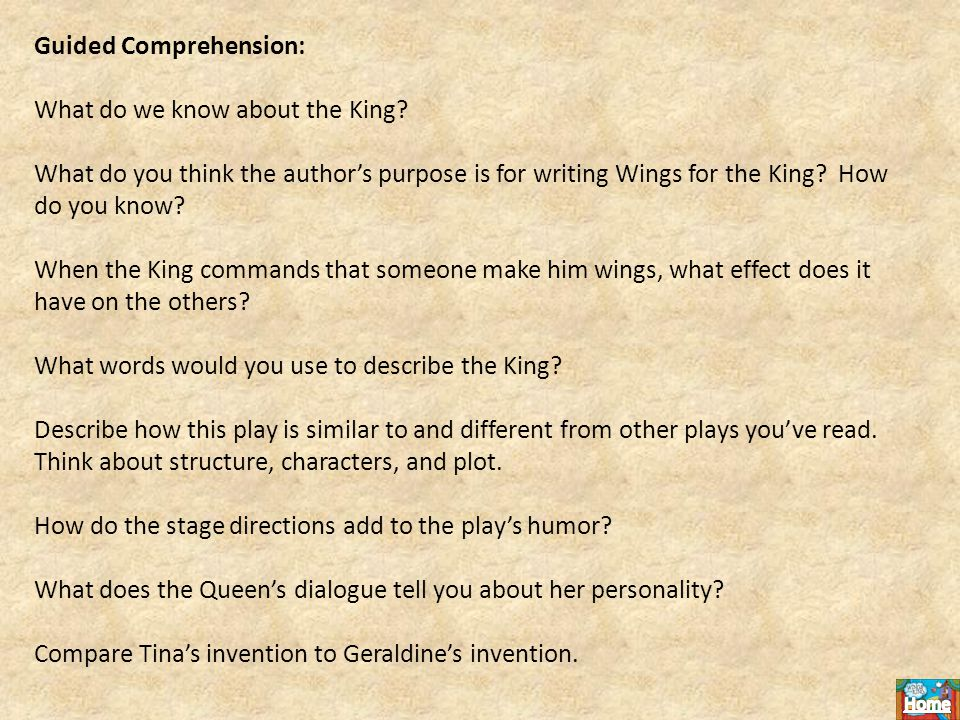 Guided Comprehension: What do we know about the King.