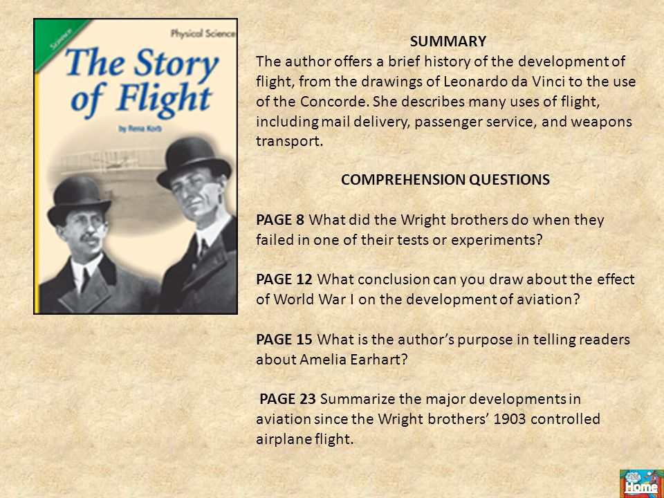 SUMMARY The author offers a brief history of the development of flight, from the drawings of Leonardo da Vinci to the use of the Concorde.