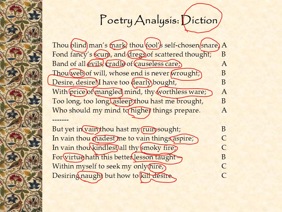 Poetry Analysis: Diction Thou blind man's mark, thou fool's self-chosen snare,A Fond fancy's scum, and dregs of scattered thought;B Band of all evils,