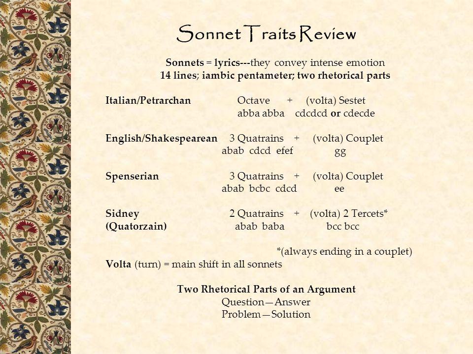 Sonnet Traits Review Sonnets = lyrics---they convey intense emotion 14 lines; iambic pentameter; two rhetorical parts Italian/Petrarchan Octave + (vol
