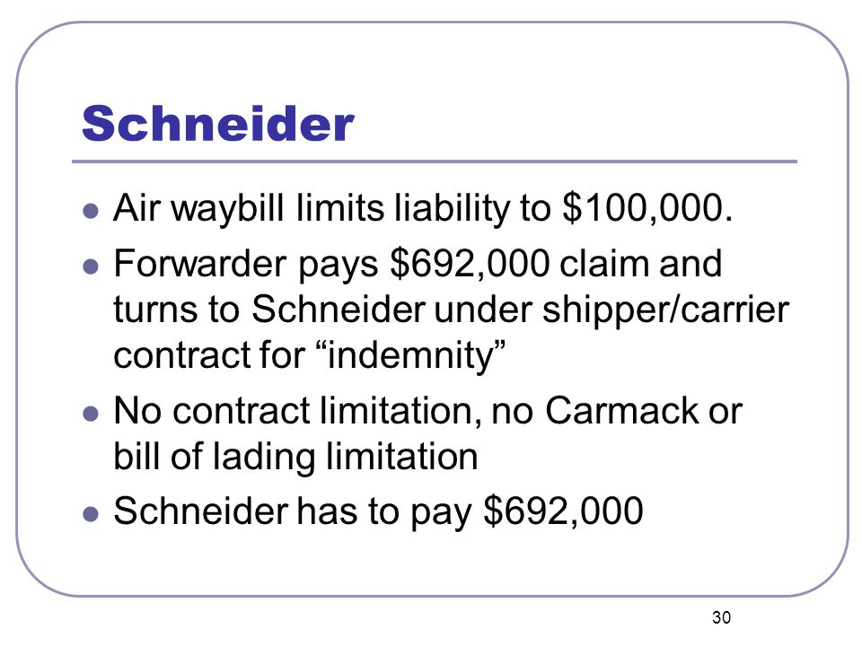 """30 Schneider Air waybill limits liability to $100,000. Forwarder pays $692,000 claim and turns to Schneider under shipper/carrier contract for """"indemn"""