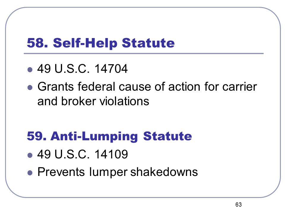 63 58. Self-Help Statute 49 U.S.C.