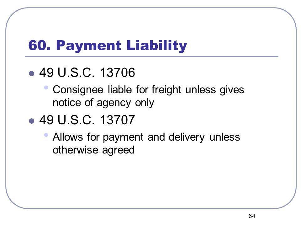 64 60. Payment Liability 49 U.S.C.