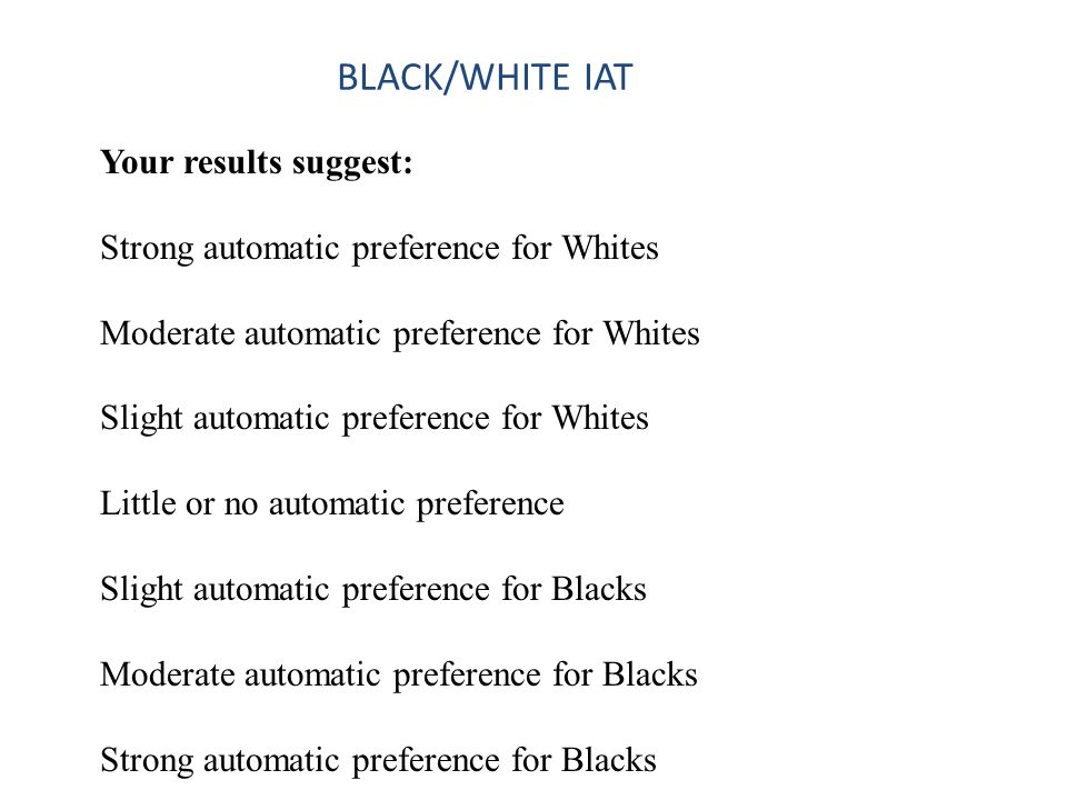 Your results suggest: Strong automatic preference for Whites Moderate automatic preference for Whites Slight automatic preference for Whites Little or no automatic preference Slight automatic preference for Blacks Moderate automatic preference for Blacks Strong automatic preference for Blacks BLACK/WHITE IAT