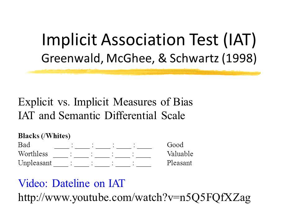 Implicit Association Test (IAT) Greenwald, McGhee, & Schwartz (1998) Explicit vs.