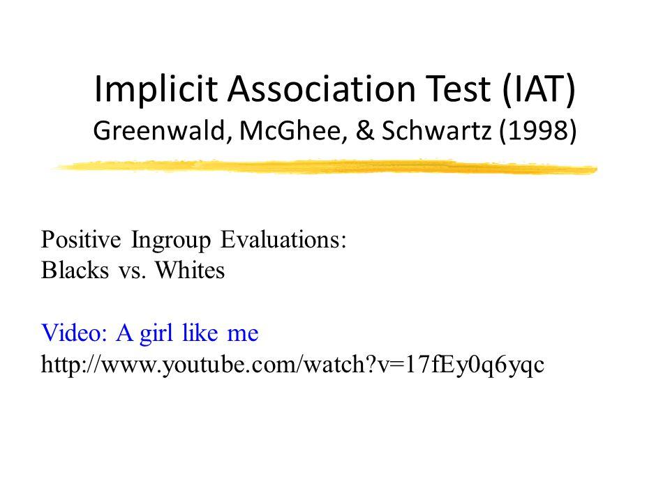 Implicit Association Test (IAT) Greenwald, McGhee, & Schwartz (1998) Positive Ingroup Evaluations: Blacks vs.