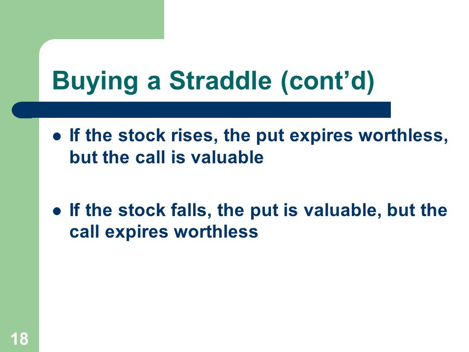 18 Buying a Straddle (cont'd) If the stock rises, the put expires worthless, but the call is valuable If the stock falls, the put is valuable, but the call expires worthless