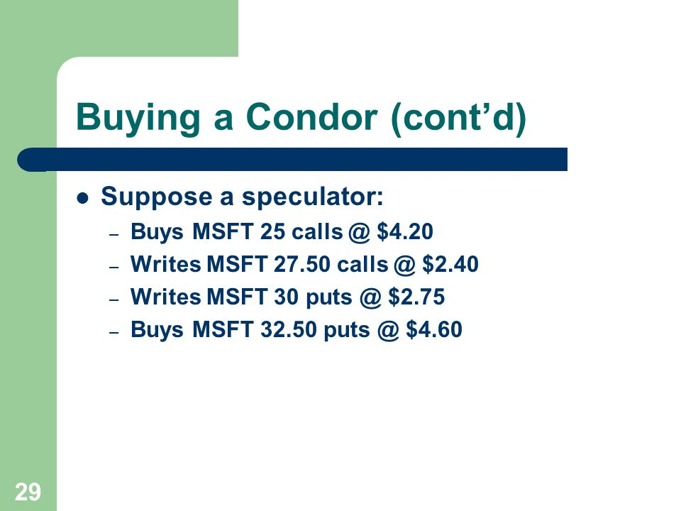 29 Buying a Condor (cont'd) Suppose a speculator: – Buys MSFT 25 calls @ $4.20 – Writes MSFT 27.50 calls @ $2.40 – Writes MSFT 30 puts @ $2.75 – Buys MSFT 32.50 puts @ $4.60