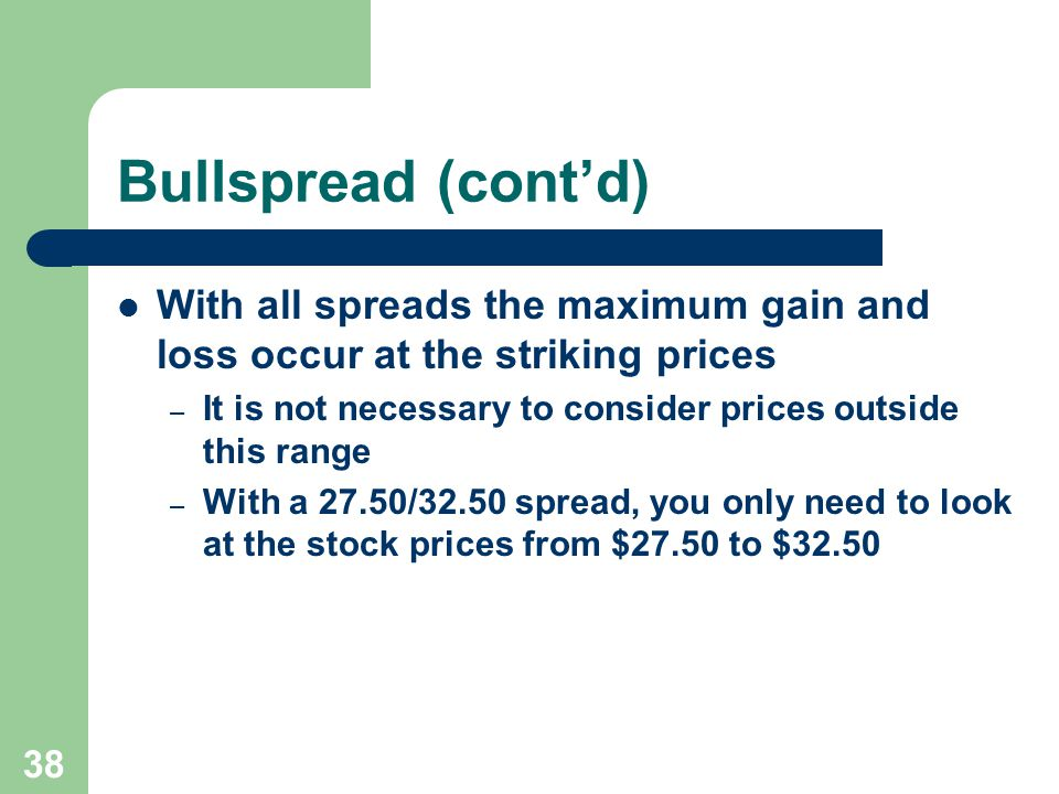 38 Bullspread (cont'd) With all spreads the maximum gain and loss occur at the striking prices – It is not necessary to consider prices outside this range – With a 27.50/32.50 spread, you only need to look at the stock prices from $27.50 to $32.50