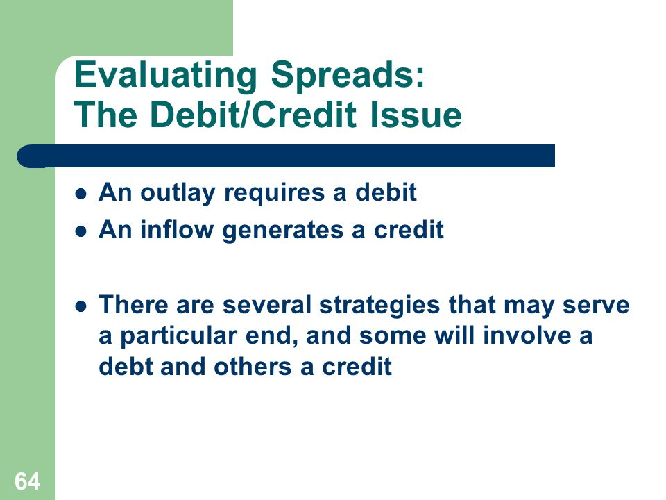 64 Evaluating Spreads: The Debit/Credit Issue An outlay requires a debit An inflow generates a credit There are several strategies that may serve a particular end, and some will involve a debt and others a credit