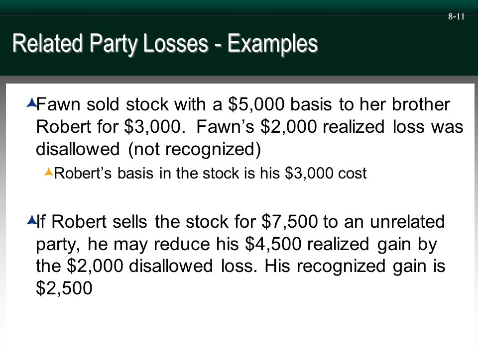 8-11 Related Party Losses - Examples  Fawn sold stock with a $5,000 basis to her brother Robert for $3,000.