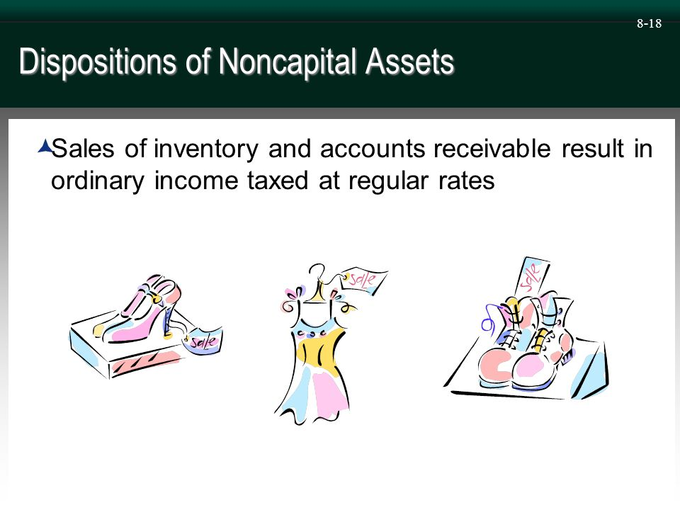 8-18 Dispositions of Noncapital Assets  Sales of inventory and accounts receivable result in ordinary income taxed at regular rates