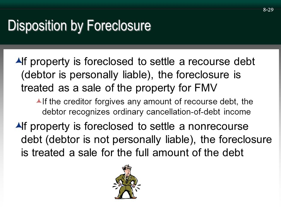 8-29 Disposition by Foreclosure  If property is foreclosed to settle a recourse debt (debtor is personally liable), the foreclosure is treated as a sale of the property for FMV  If the creditor forgives any amount of recourse debt, the debtor recognizes ordinary cancellation-of-debt income  If property is foreclosed to settle a nonrecourse debt (debtor is not personally liable), the foreclosure is treated a sale for the full amount of the debt