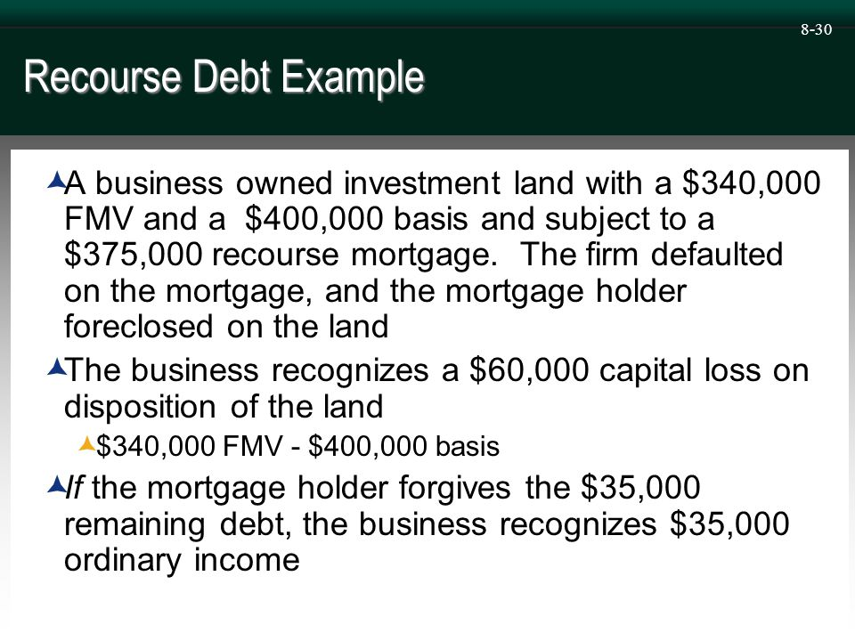 8-30 Recourse Debt Example  A business owned investment land with a $340,000 FMV and a $400,000 basis and subject to a $375,000 recourse mortgage.