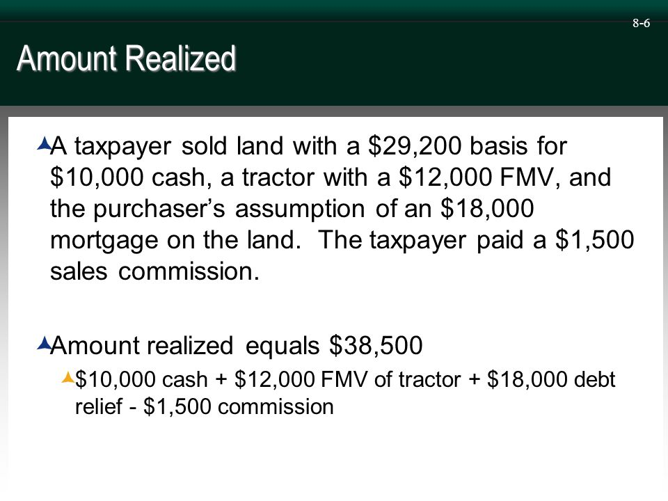 8-7 Gain Realized  A taxpayer sold land with a $29,200 basis for a $38,500 amount realized.