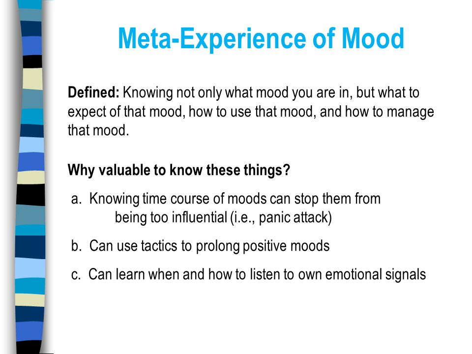 Meta-Experience of Mood Defined: Knowing not only what mood you are in, but what to expect of that mood, how to use that mood, and how to manage that mood.