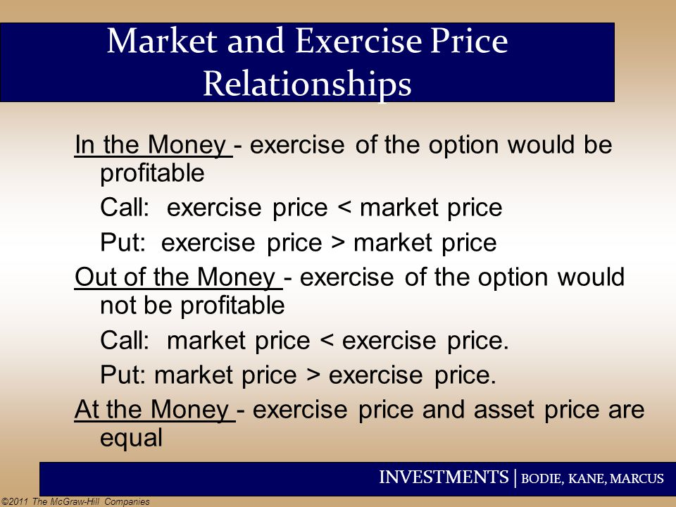 INVESTMENTS | BODIE, KANE, MARCUS ©2011 The McGraw-Hill Companies In the Money - exercise of the option would be profitable Call: exercise price < mar