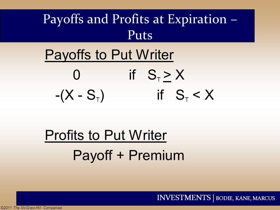 INVESTMENTS | BODIE, KANE, MARCUS ©2011 The McGraw-Hill Companies Payoffs to Put Writer 0if S T > X -(X - S T )if S T < X Profits to Put Writer Payoff