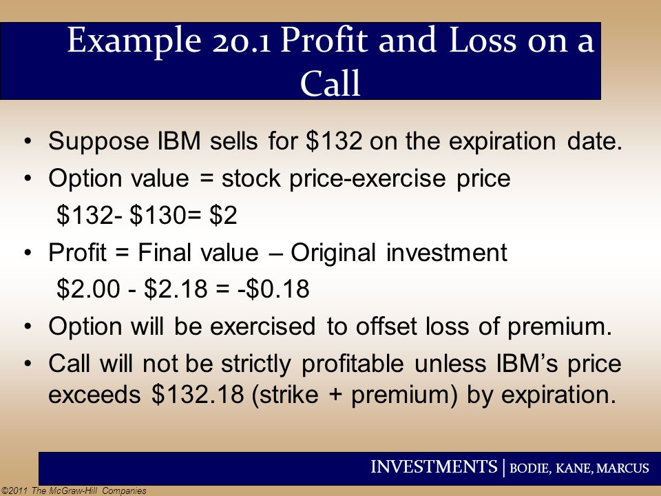 INVESTMENTS | BODIE, KANE, MARCUS ©2011 The McGraw-Hill Companies Example 20.1 Profit and Loss on a Call Suppose IBM sells for $132 on the expiration