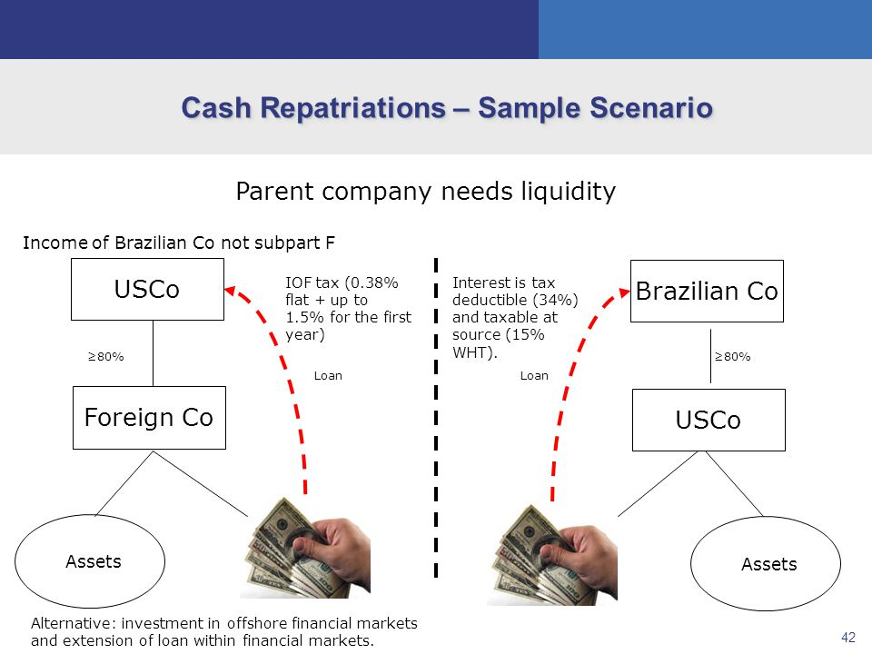 42 Cash Repatriations – Sample Scenario USCo Assets Foreign Co ≥80% Brazilian Co Assets USCo ≥80% Parent company needs liquidity Income of Brazilian Co not subpart F Loan IOF tax (0.38% flat + up to 1.5% for the first year) Alternative: investment in offshore financial markets and extension of loan within financial markets.