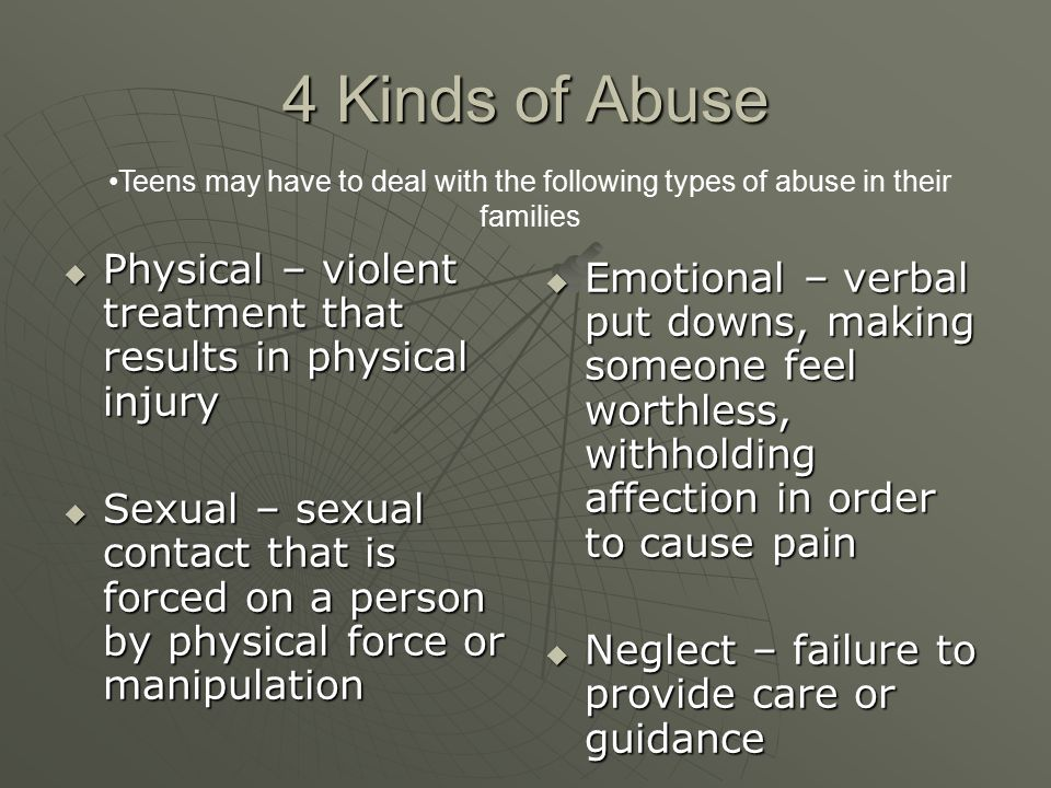 4 Kinds of Abuse Teens may have to deal with the following types of abuse in their families  Physical – violent treatment that results in physical in