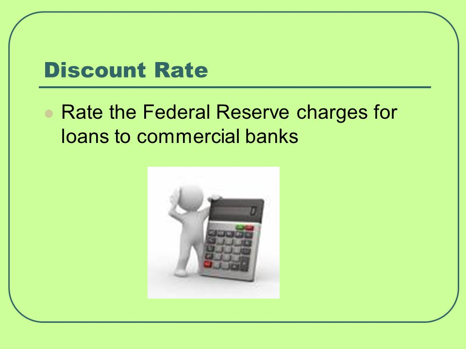 Discount Rate Rate the Federal Reserve charges for loans to commercial banks