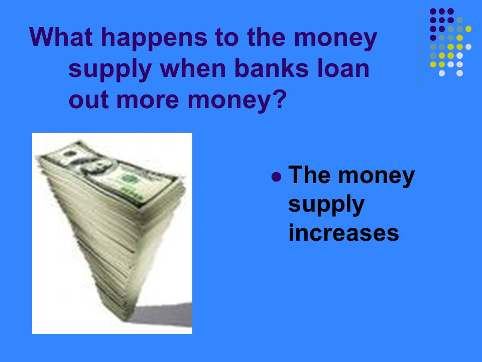 What happens to the money supply when banks loan out more money? The money supply increases
