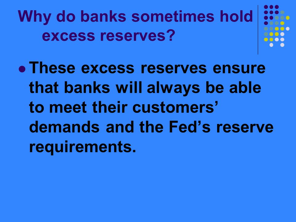 Why do banks sometimes hold excess reserves.