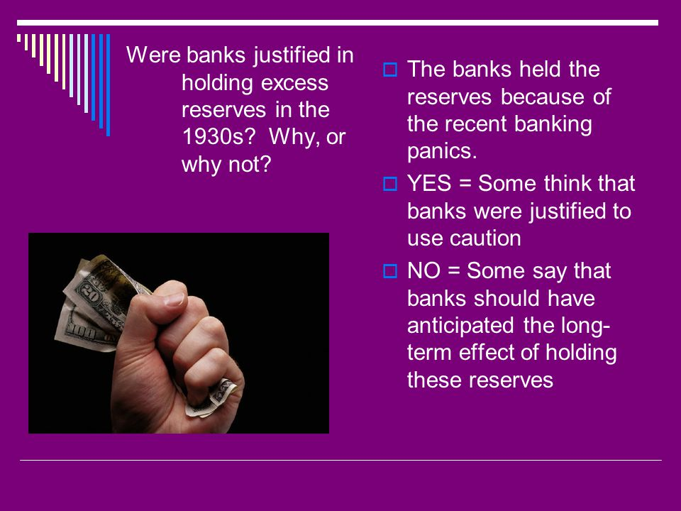 Were banks justified in holding excess reserves in the 1930s.