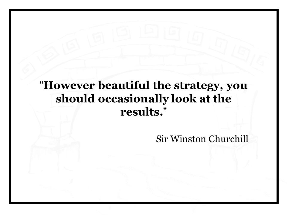 However beautiful the strategy, you should occasionally look at the results.
