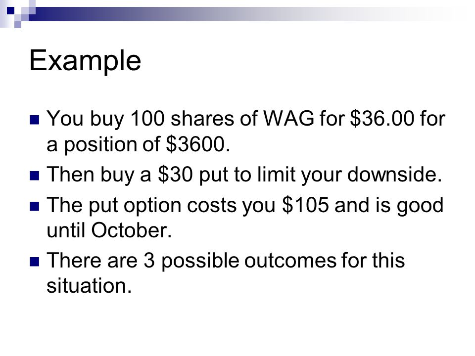 Example You buy 100 shares of WAG for $36.00 for a position of $3600.