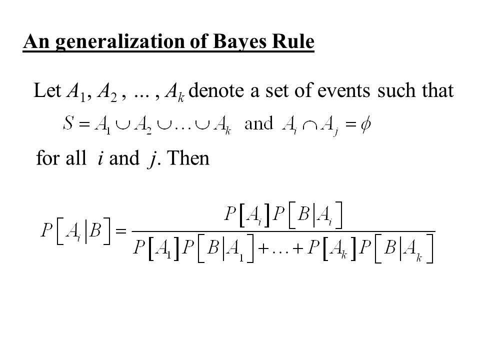 Let A 1, A 2, …, A k denote a set of events such that An generalization of Bayes Rule for all i and j.