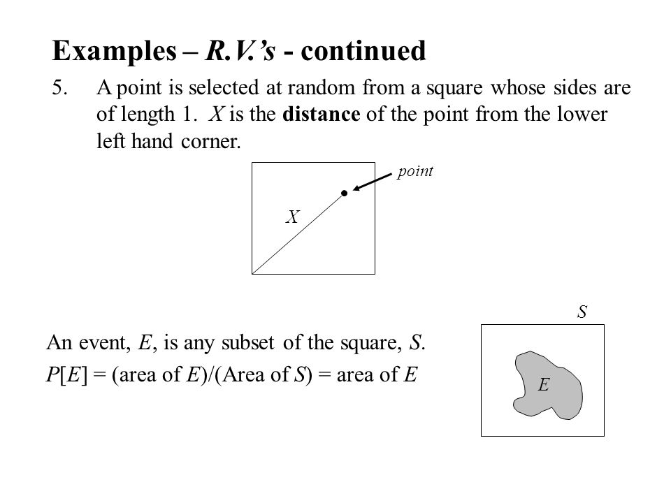 Examples – R.V.'s - continued 5.A point is selected at random from a square whose sides are of length 1.