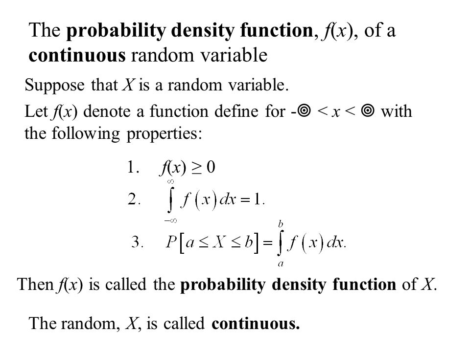 The probability density function, f(x), of a continuous random variable Suppose that X is a random variable.