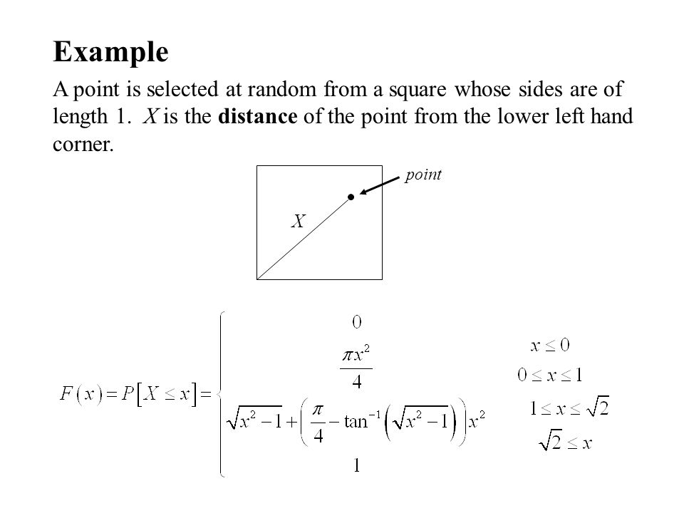 Example A point is selected at random from a square whose sides are of length 1.
