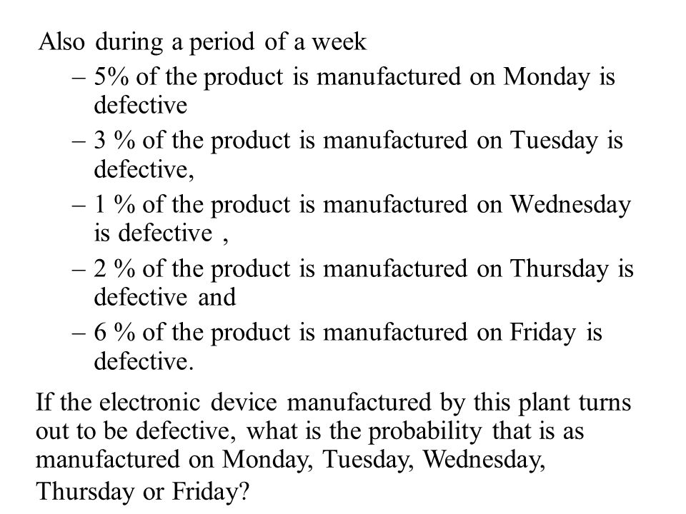 Also during a period of a week –5% of the product is manufactured on Monday is defective –3 % of the product is manufactured on Tuesday is defective, –1 % of the product is manufactured on Wednesday is defective, –2 % of the product is manufactured on Thursday is defective and –6 % of the product is manufactured on Friday is defective.