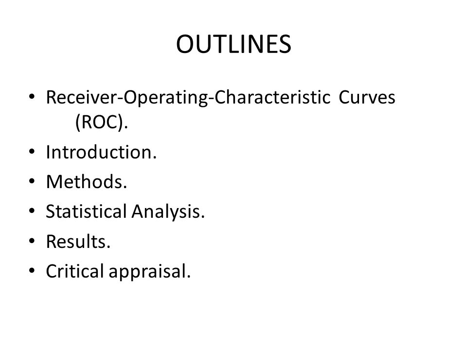Receiver Operating Characteristic Curve (ROC) The name Receiver Operating Characteristic came from Signal Detection Theory developed during World War II for the analysis of radar images.